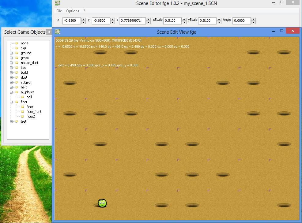 Creating new game scene in fle game engine - the scenes editor Scene Editor 1.0.2 - ball over sand blocks at the bottom of the scene