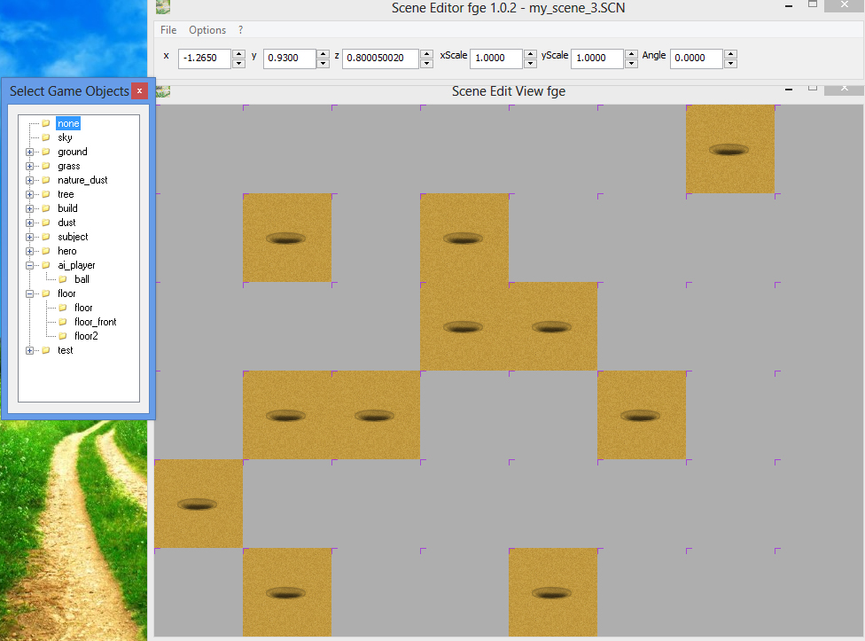 Creating new game scene in fle game engine - the scenes editor Scene Editor 1.0.2 - back sand blocks for holes