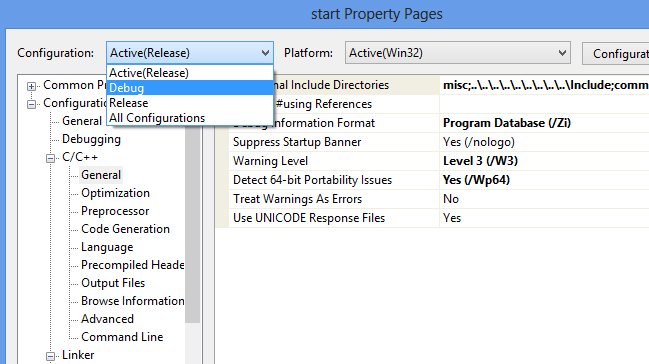 project properties Additional Include Directories for Debug build