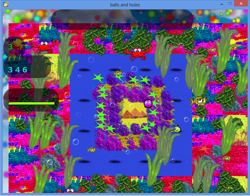 Balls and Holes игра - уровень подводный мир / Balls and Holes game - undersea world level