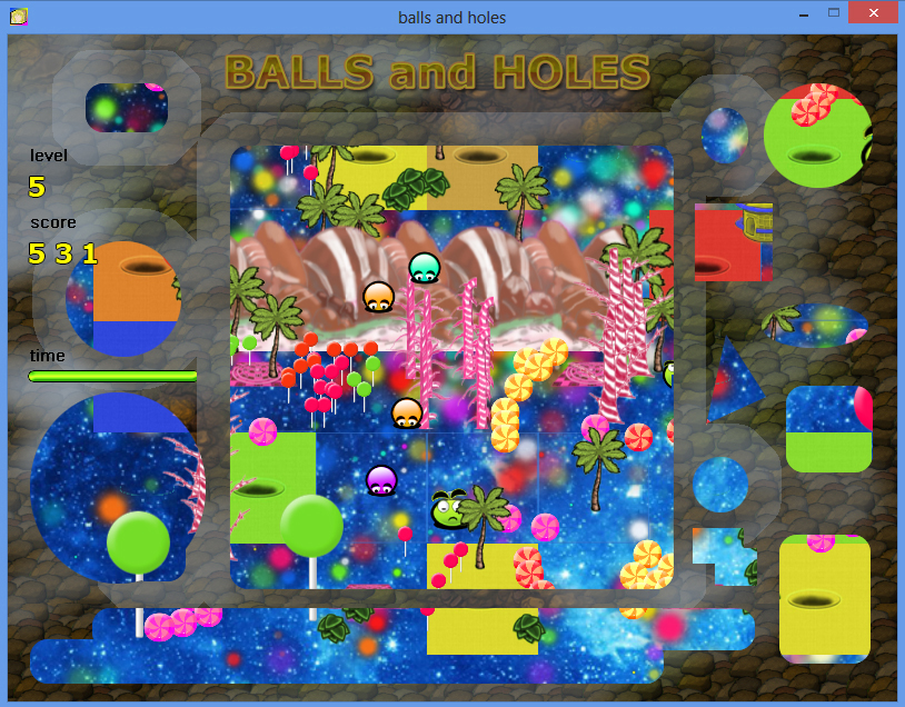 Balls and Holes игра - уровень карамельная страна / Balls and Holes game - caramel country level
