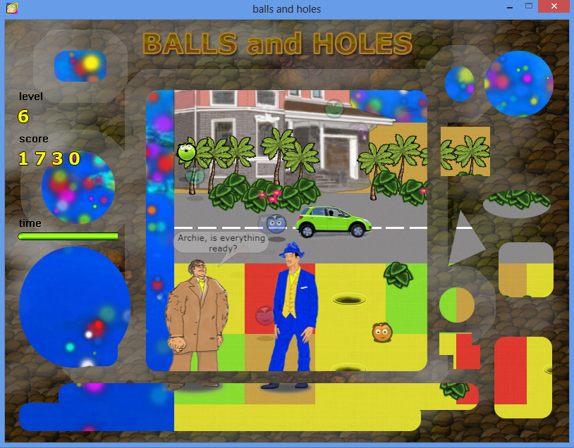 Balls and Holes игра - уровень город / Balls and Holes game - city level