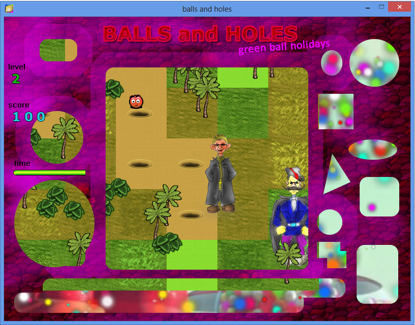 Balls and Holes игра - уровень джунгли / Balls and Holes game - jungle level
