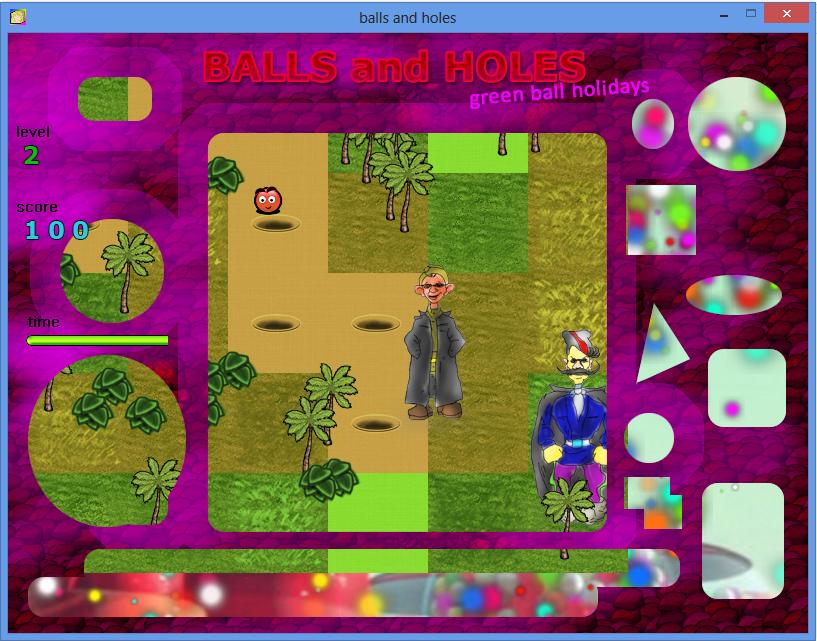 Balls and Holes игра - уровень джунгли / Balls and Holes game - jungle level
