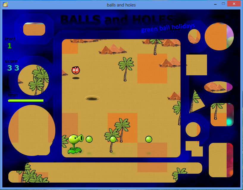 Balls and Holes игра - уровень пустыня / Balls and Holes game - desert level