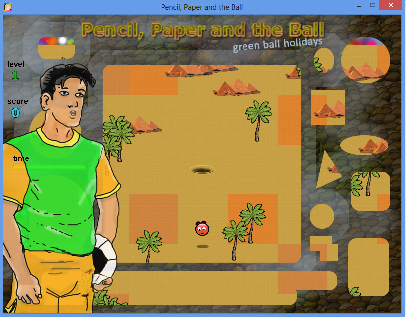 Pencil Paper and the Ball PC game / Шар Бумага Карандаш PC игра - Kostya and Red Ball / Костя и Красный Шар