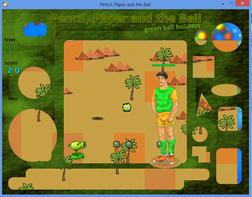 Pencil Paper and the Ball PC game / Шар Бумага Карандаш PC игра - Kostya, Peashooter and Green Ball / Костя, Горохострел и Зеленый Шар